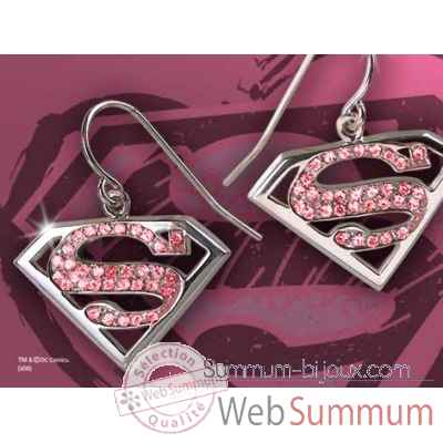 Supergirl™ - boucles d\\\'oreilles cristal rose Noble Collection -NN4024